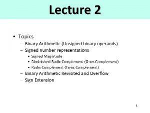Lecture 2 Topics Binary Arithmetic Unsigned binary operands