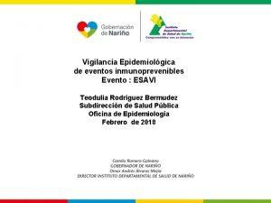 Vigilancia Epidemiolgica de eventos inmunoprevenibles Evento ESAVI Teodulia
