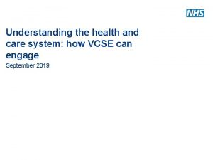 Understanding the health and care system how VCSE