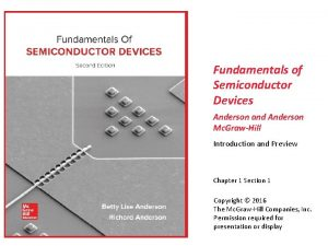 Fundamentals of Semiconductor Devices Anderson and Anderson Mc