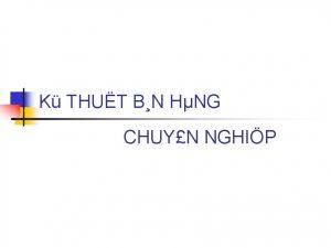 K THUT BN HNG CHUYN NGHIP Bn hng