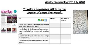 Week commencing 13 th July 2020 To write