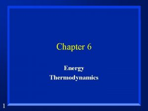 Chapter 6 Energy Thermodynamics 1 Energy is The