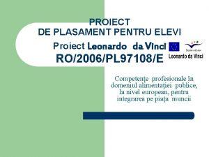 PROIECT DE PLASAMENT PENTRU ELEVI Proiect Leonardo da