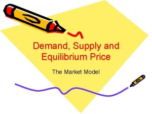 Demand Supply and Equilibrium Price The Market Model