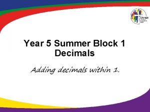 Year 5 Summer Block 1 Decimals Adding decimals