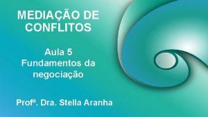 MEDIAO DE CONFLITOS Aula 5 Fundamentos da negociao