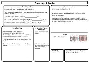 Structure Bonding Chemical Bonding Covalent bonding When is