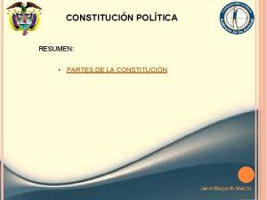 CONSTITUCIN POLTICA RESUMEN PARTES DE LA CONSTITUCIN Javier