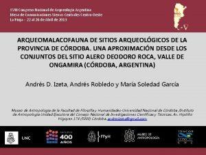 XVIII Congreso Nacional de Arqueologa Argentina Mesa de