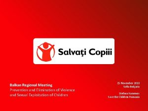 Balkan Regional Meeting Prevention and Elimination of Violence