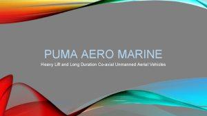PUMA AERO MARINE Heavy Lift and Long Duration