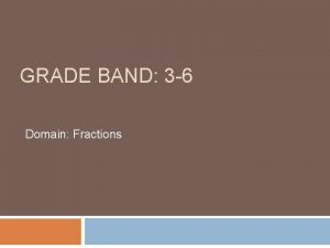 GRADE BAND 3 6 Domain Fractions Why this