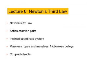 Lecture 6 Newtons Third Law Newtons 3 rd