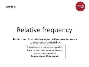 Grade C Relative frequency Understand how relative expected