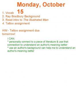 Monday October 15 1 Vocab 2 Ray Bradbury