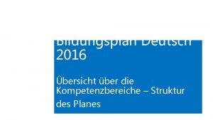 Bildungsplan Deutsch 2016 bersicht ber die Kompetenzbereiche Struktur