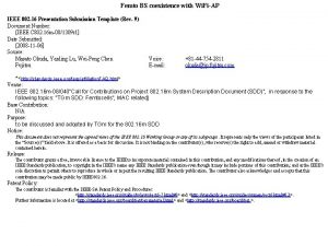 Femto BS coexistence with Wi FiAP IEEE 802