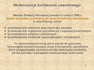 Modernizacja ksztacenia zawodowego Minister Edukacji Narodowej powoa w
