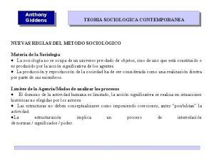 Anthony Giddens TEORIA SOCIOLOGICA CONTEMPORANEA NUEVAS REGLAS DEL