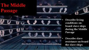 The Middle Passage Describe living conditions onboard slave