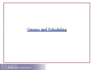 Queues and Scheduling CPU Scheduling 101 The CPU