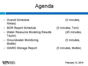 Agenda Overall Schedule Niklas BOR Report Schedule Water