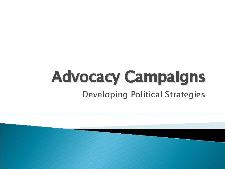 Advocacy Campaigns Developing Political Strategies In lobbying campaigns