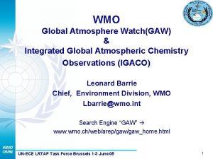 WMO Global Atmosphere WatchGAW Integrated Global Atmospheric Chemistry