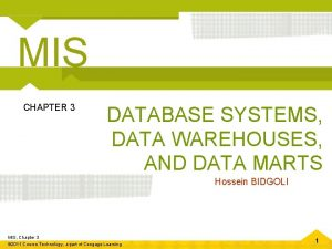 MIS CHAPTER 3 DATABASE SYSTEMS DATA WAREHOUSES AND