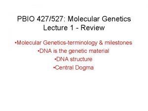 PBIO 427527 Molecular Genetics Lecture 1 Review Molecular