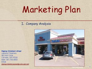 Marketing Plan I Company Analysis Replay Childrens Wear
