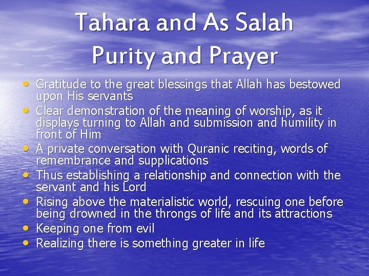 Tahara and As Salah Purity and Prayer Gratitude