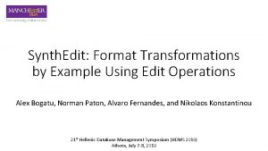 Synth Edit Format Transformations by Example Using Edit