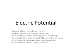 Electric Potential Potential Difference and Electric Potential Potential