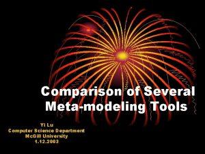 Comparison of Several Metamodeling Tools Yi Lu Computer