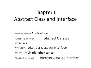 Chapter 6 Abstract Class and Interface Abstraction Abstract