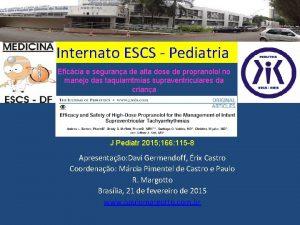 Internato ESCS Pediatria Eficcia e segurana de alta