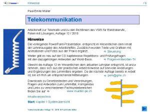 Hinweise PaulEmile Mller Telekommunikation Arbeitsheft zur Telematik und