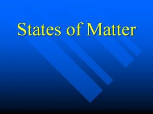 States of Matter What are three states of