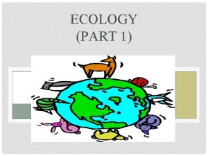 ECOLOGY PART 1 Levels Within Levels An ecosystem