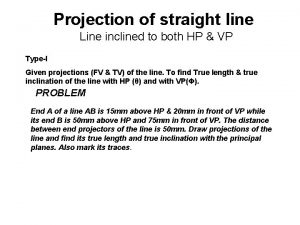 Projection of straight line Line inclined to both