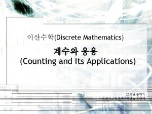 Discrete Mathematics Counting and Its Applications 2016 Counting