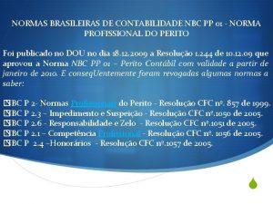 NORMAS BRASILEIRAS DE CONTABILIDADE NBC PP 01 NORMA