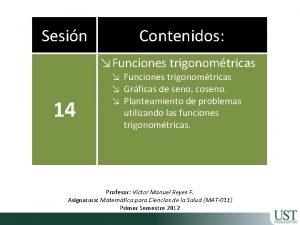 Sesin Contenidos Funciones trigonomtricas 14 Funciones trigonomtricas Grficas