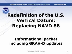 Redefinition of the U S Vertical Datum Replacing