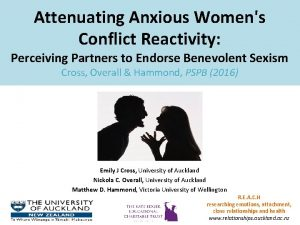Attenuating Anxious Womens Conflict Reactivity Perceiving Partners to