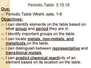 Periodic Table 3 15 18 Due Periodic Table