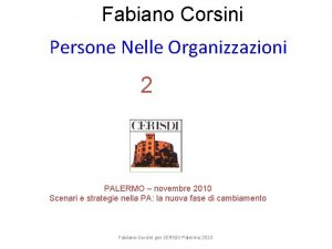 Fabiano Corsini Persone Nelle Organizzazioni 2 CENTRO RICERCHE