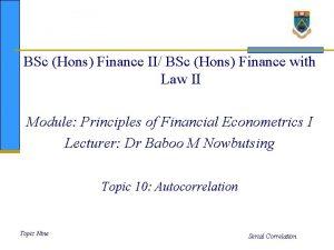 BSc Hons Finance II BSc Hons Finance with